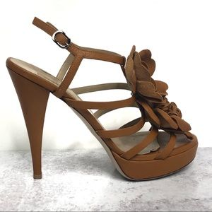 Valentino Leather Strappy Heels with Flower Design